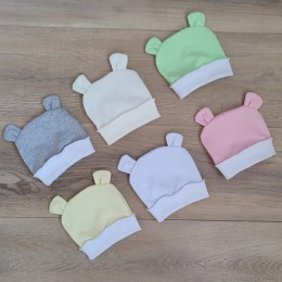 Шапочка для новорожденных с ушками (байковая)