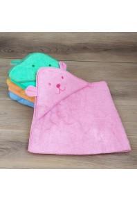 """Махровое детское полотенце с капюшоном с вышивкой """"мишка"""" 100% хлопок"""