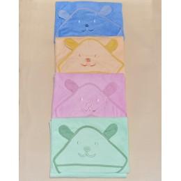 Полотенце-уголок с капюшоном для купания 90х90 см