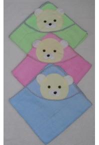 детское полотенце для купания с капюшоном 100% хлопок